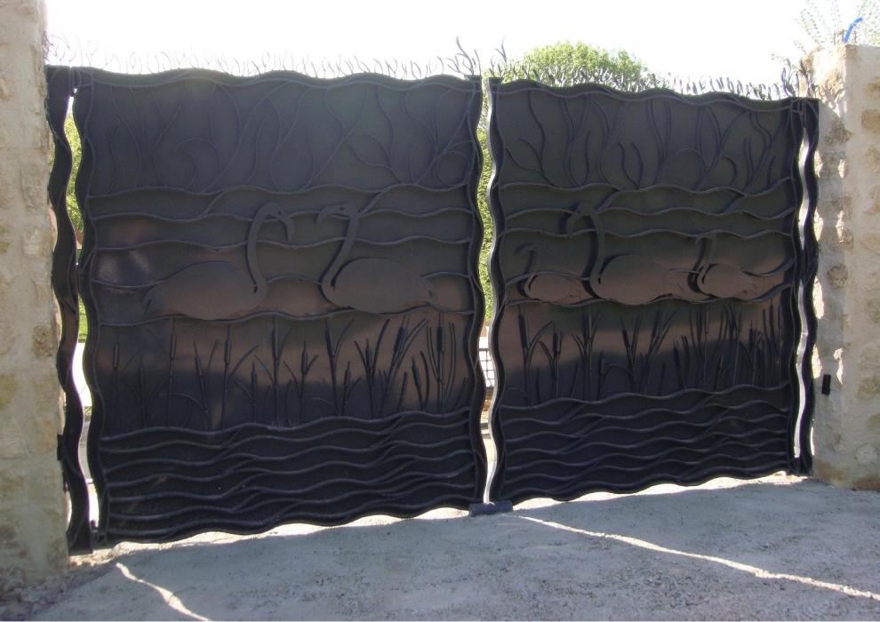Peinture fer forge for Portail original en fer forge